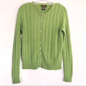 Eddie Bauer Green Cable-knit Cardigan size Small
